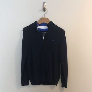 Nautica Boys Navy Cable Knit Pullover Sweater 7